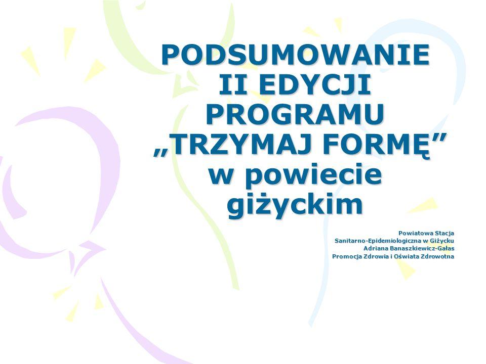 """PODSUMOWANIE II EDYCJI PROGRAMU """"TRZYMAJ FORMĘ w powiecie giżyckim"""