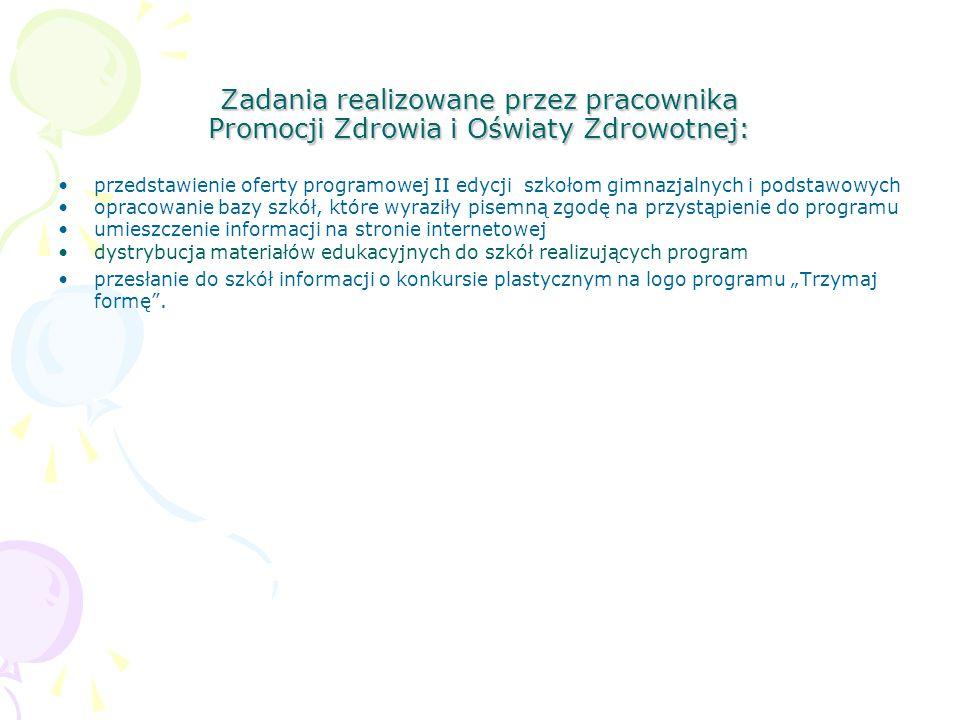 Zadania realizowane przez pracownika Promocji Zdrowia i Oświaty Zdrowotnej: