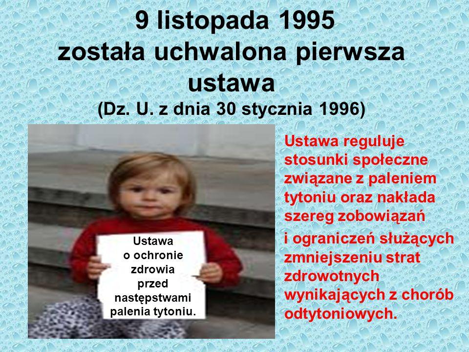 9 listopada 1995 została uchwalona pierwsza ustawa (Dz. U