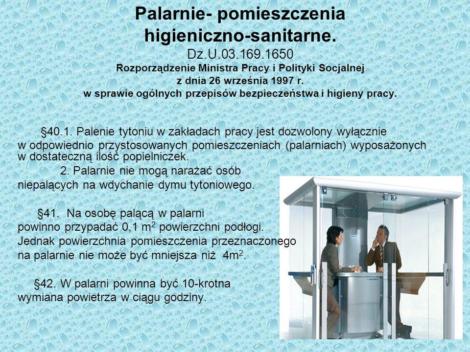 Palarnie- pomieszczenia higieniczno-sanitarne. Dz. U. 03. 169