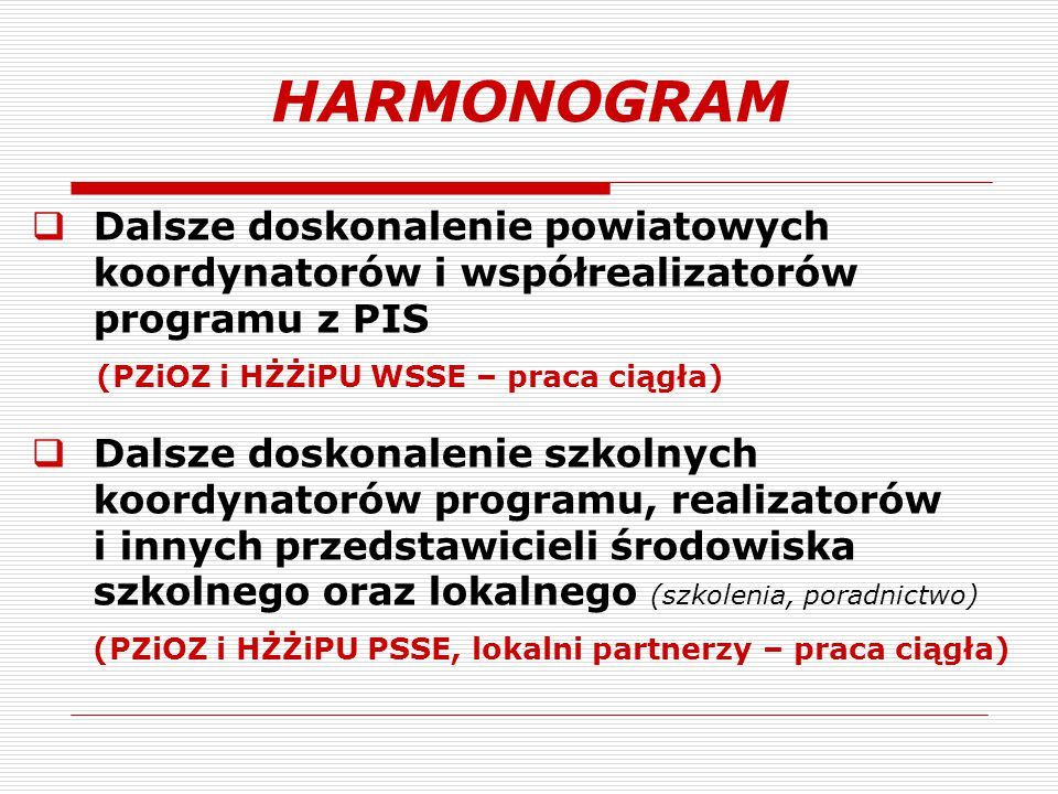 HARMONOGRAM Dalsze doskonalenie powiatowych koordynatorów i współrealizatorów programu z PIS. (PZiOZ i HŻŻiPU WSSE – praca ciągła)