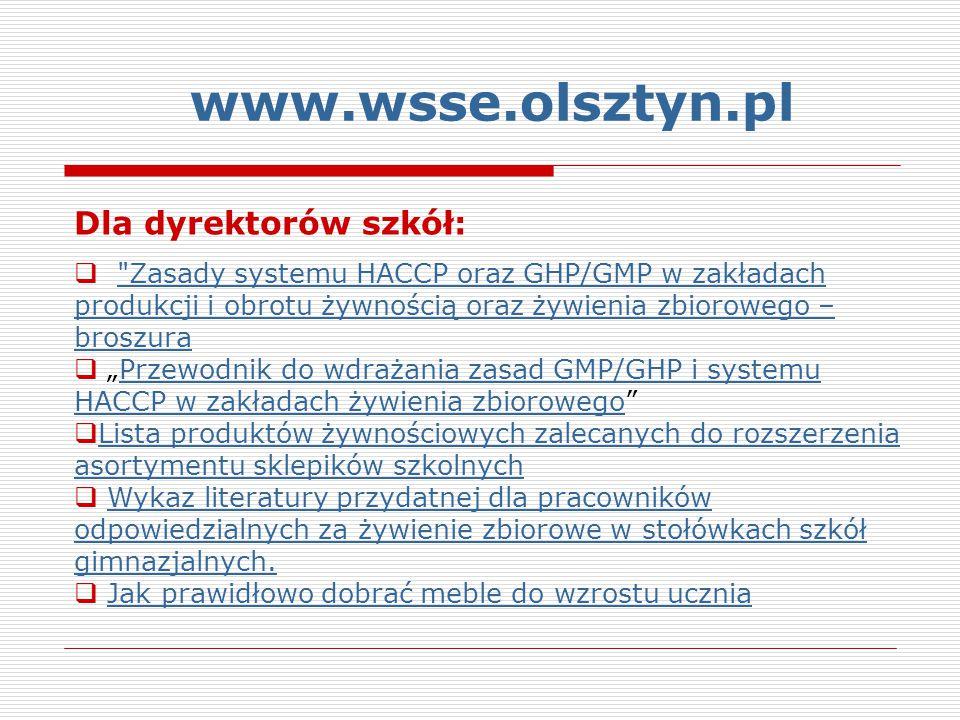 www.wsse.olsztyn.pl Dla dyrektorów szkół: