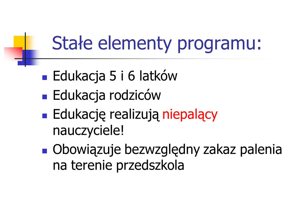 Stałe elementy programu: