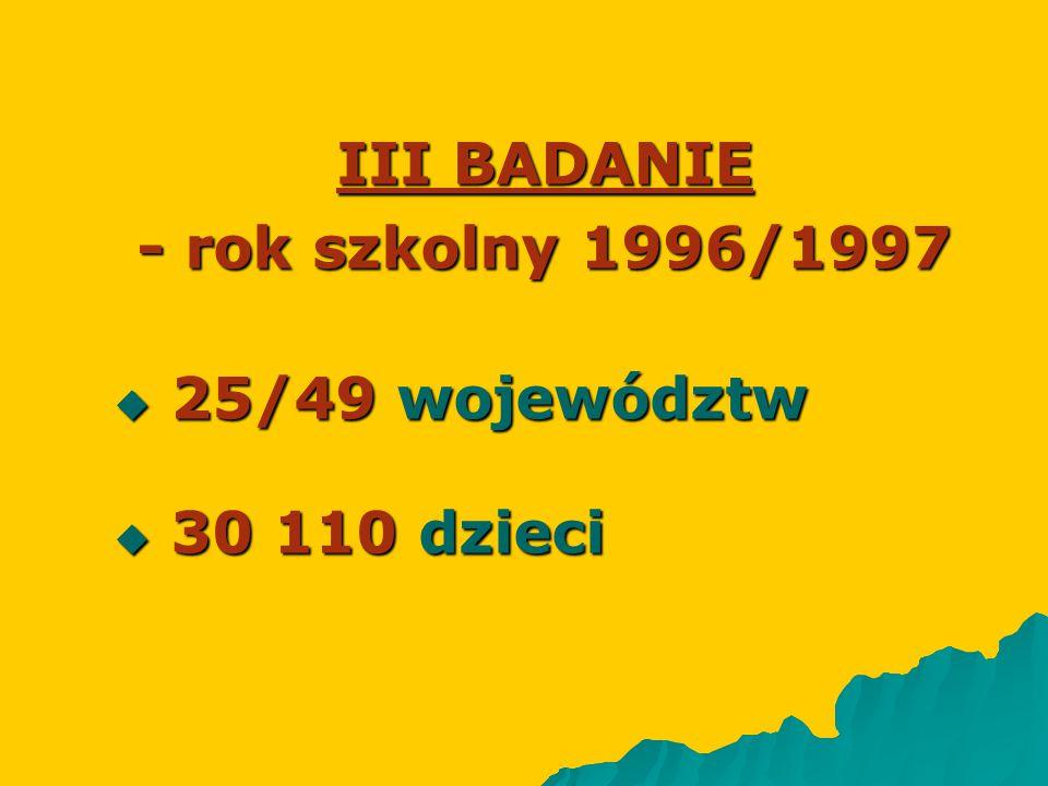 III BADANIE - rok szkolny 1996/1997
