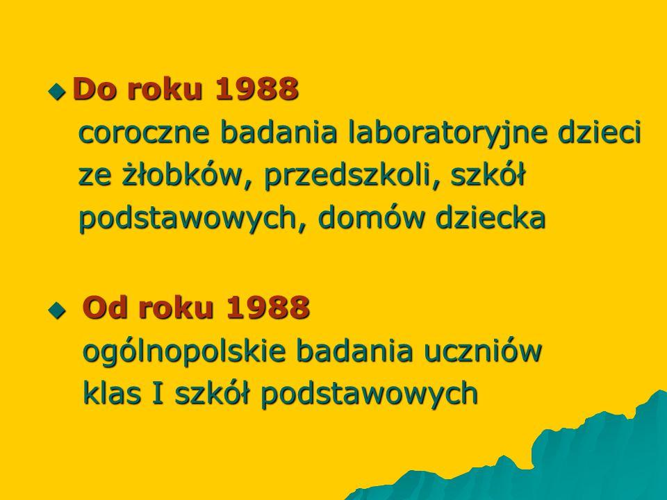 Do roku 1988 coroczne badania laboratoryjne dzieci. ze żłobków, przedszkoli, szkół. podstawowych, domów dziecka.