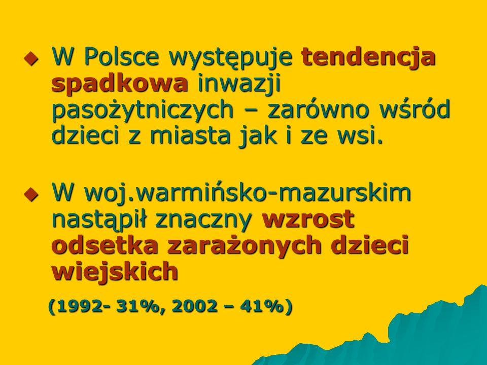 W Polsce występuje tendencja spadkowa inwazji pasożytniczych – zarówno wśród dzieci z miasta jak i ze wsi.