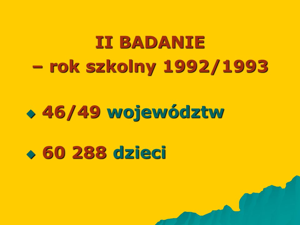 II BADANIE – rok szkolny 1992/1993
