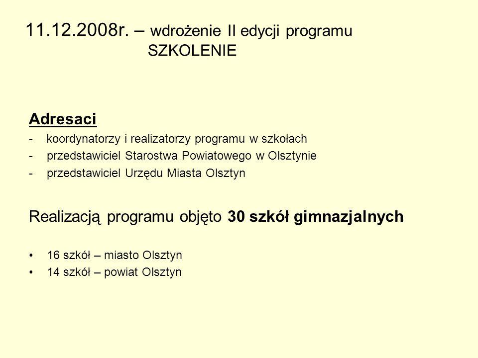 11.12.2008r. – wdrożenie II edycji programu SZKOLENIE