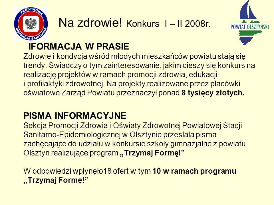 Na zdrowie! Konkurs I – II 2008r.