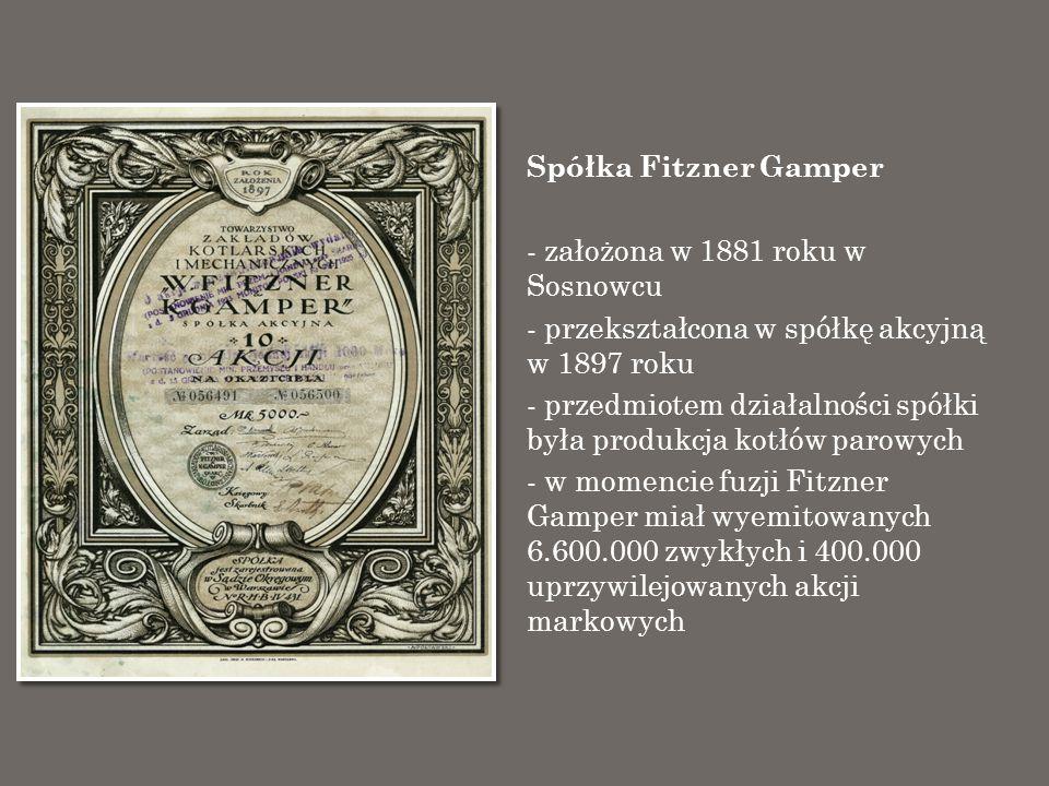 Spółka Fitzner Gamper założona w 1881 roku w Sosnowcu. przekształcona w spółkę akcyjną w 1897 roku.