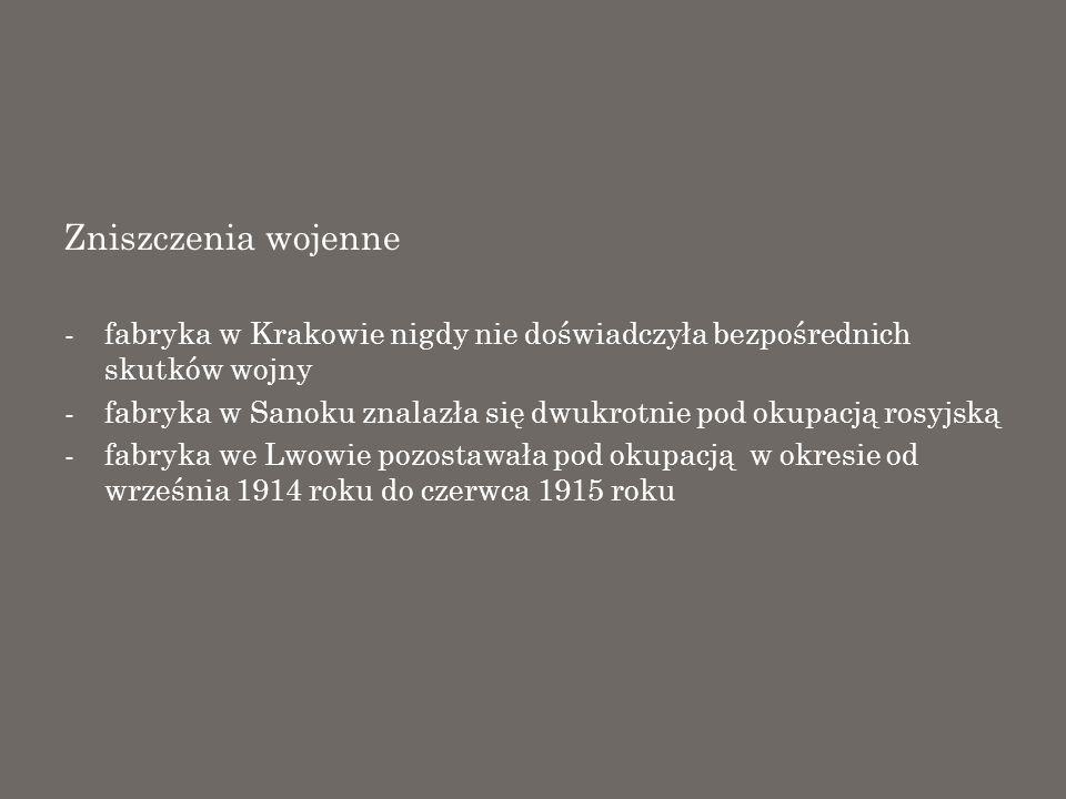 Zniszczenia wojenne fabryka w Krakowie nigdy nie doświadczyła bezpośrednich skutków wojny.