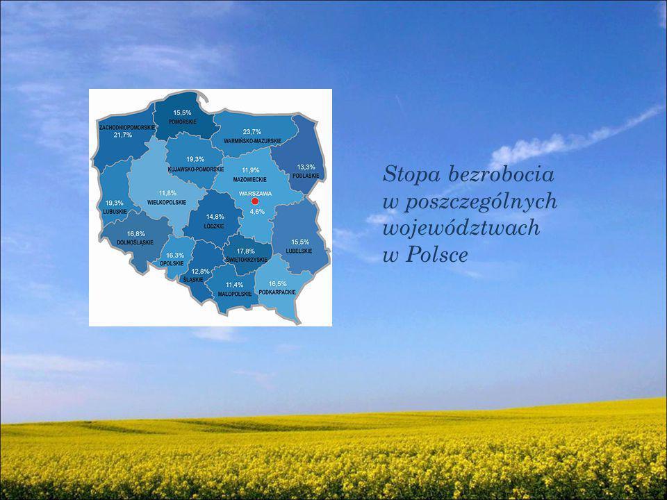 Stopa bezrobocia w poszczególnych województwach w Polsce