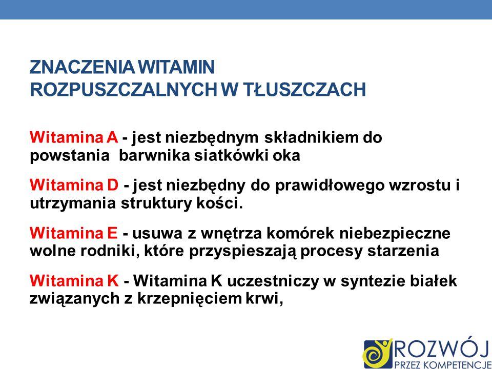 Znaczenia witamin rozpuszczalnych w tłuszczach