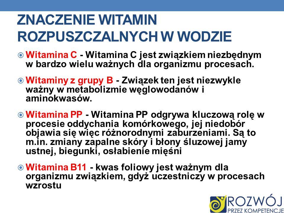 Znaczenie witamin rozpuszczalnych w wodzie