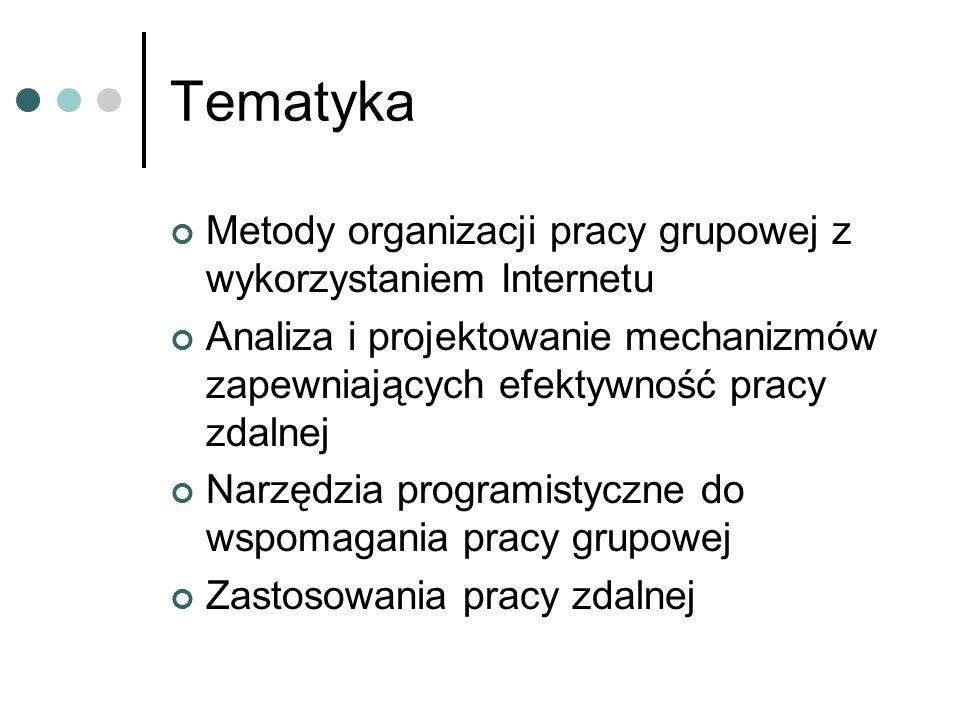 Tematyka Metody organizacji pracy grupowej z wykorzystaniem Internetu