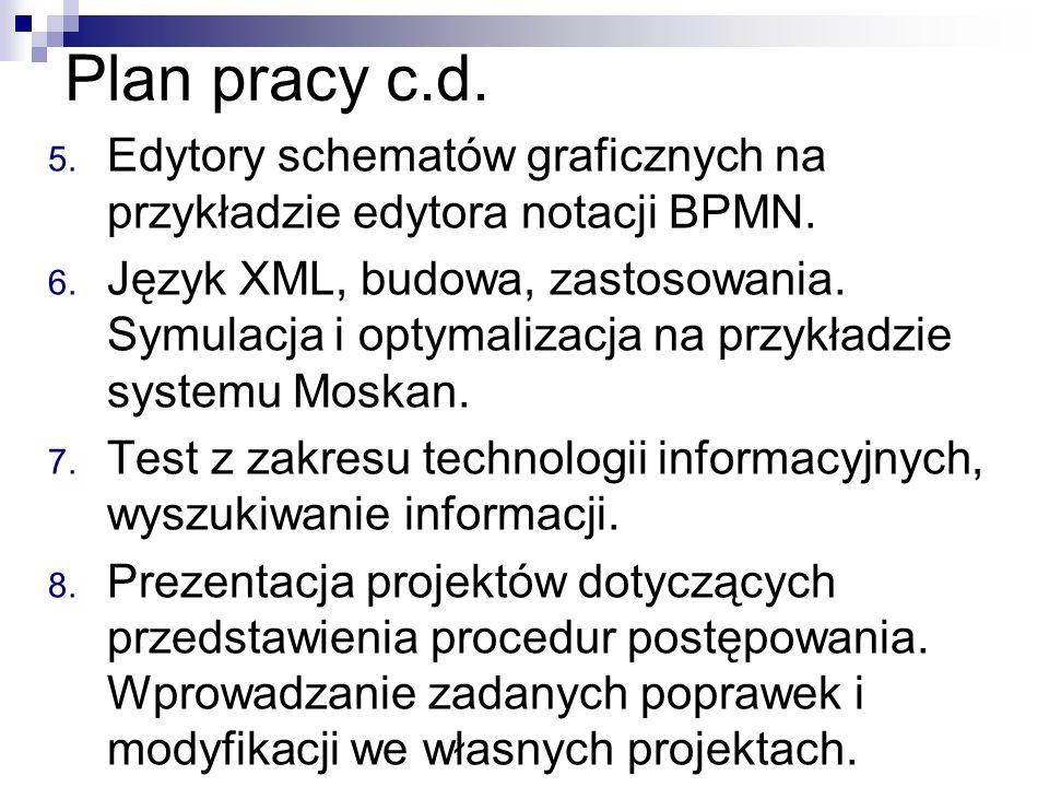 Plan pracy c.d. Edytory schematów graficznych na przykładzie edytora notacji BPMN.