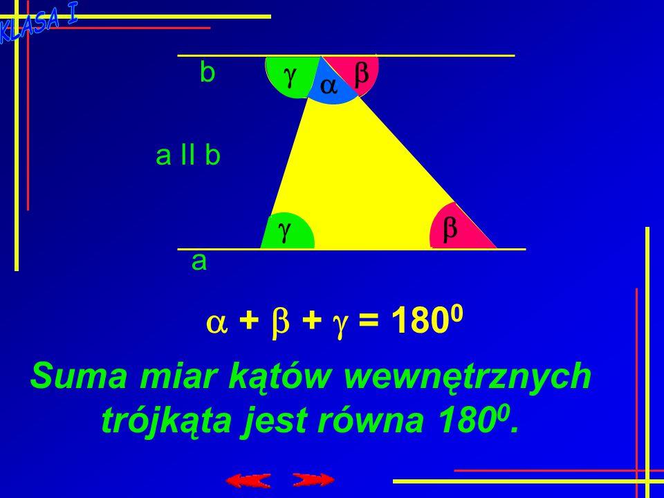 Suma miar kątów wewnętrznych trójkąta jest równa 1800.