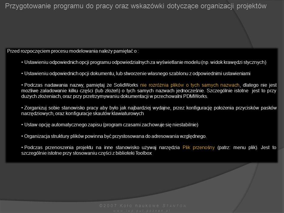 Przygotowanie programu do pracy oraz wskazówki dotyczące organizacji projektów
