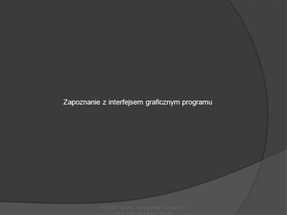 Zapoznanie z interfejsem graficznym programu