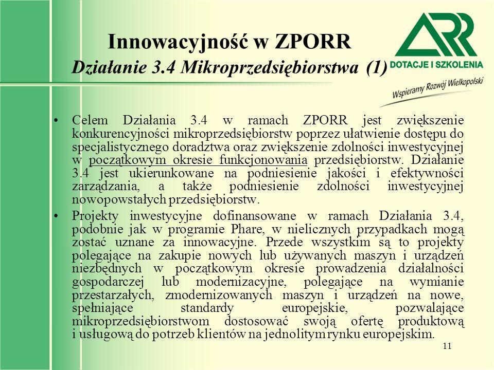 Innowacyjność w ZPORR Działanie 3.4 Mikroprzedsiębiorstwa (1)