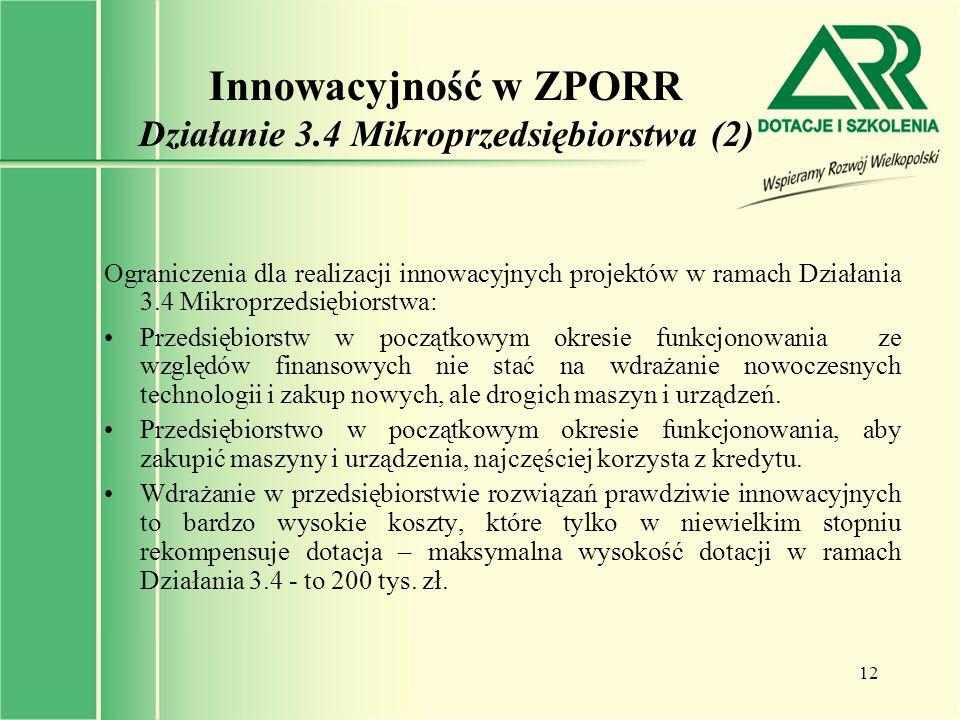 Innowacyjność w ZPORR Działanie 3.4 Mikroprzedsiębiorstwa (2)