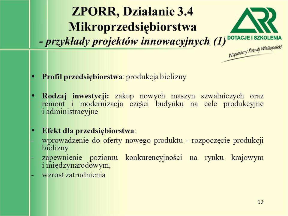 ZPORR, Działanie 3.4 Mikroprzedsiębiorstwa - przykłady projektów innowacyjnych (1)