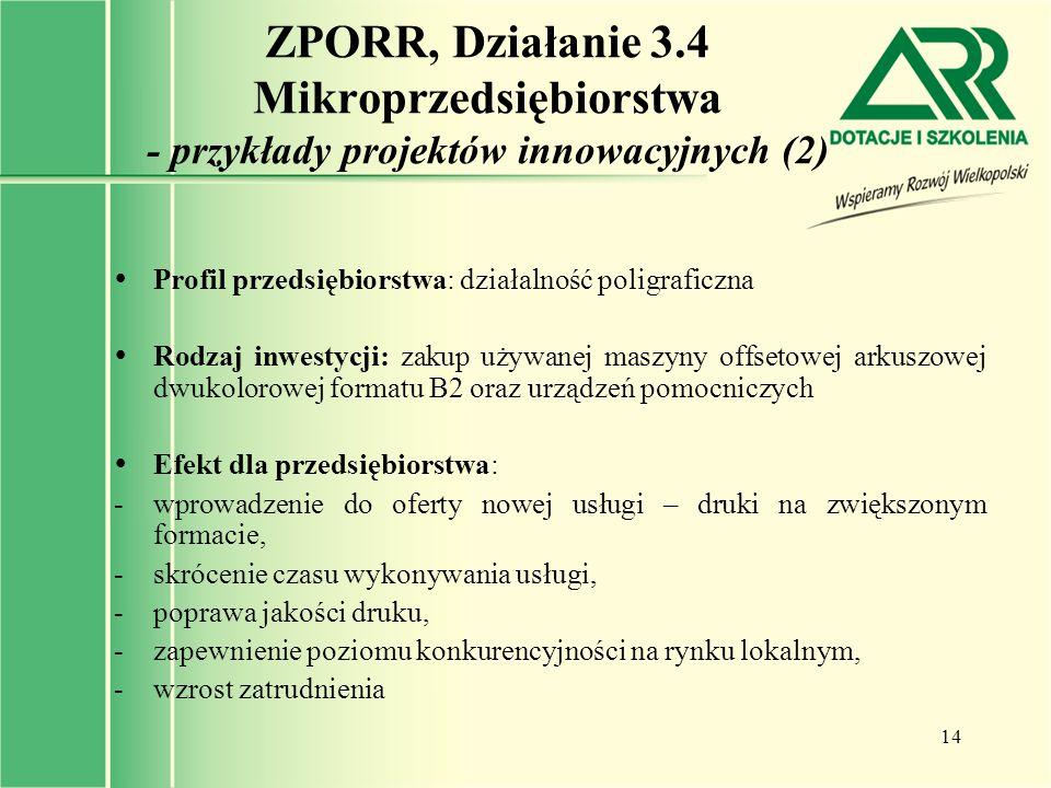 ZPORR, Działanie 3.4 Mikroprzedsiębiorstwa - przykłady projektów innowacyjnych (2)