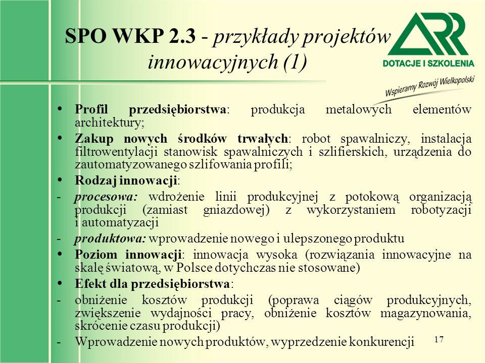 SPO WKP 2.3 - przykłady projektów innowacyjnych (1)