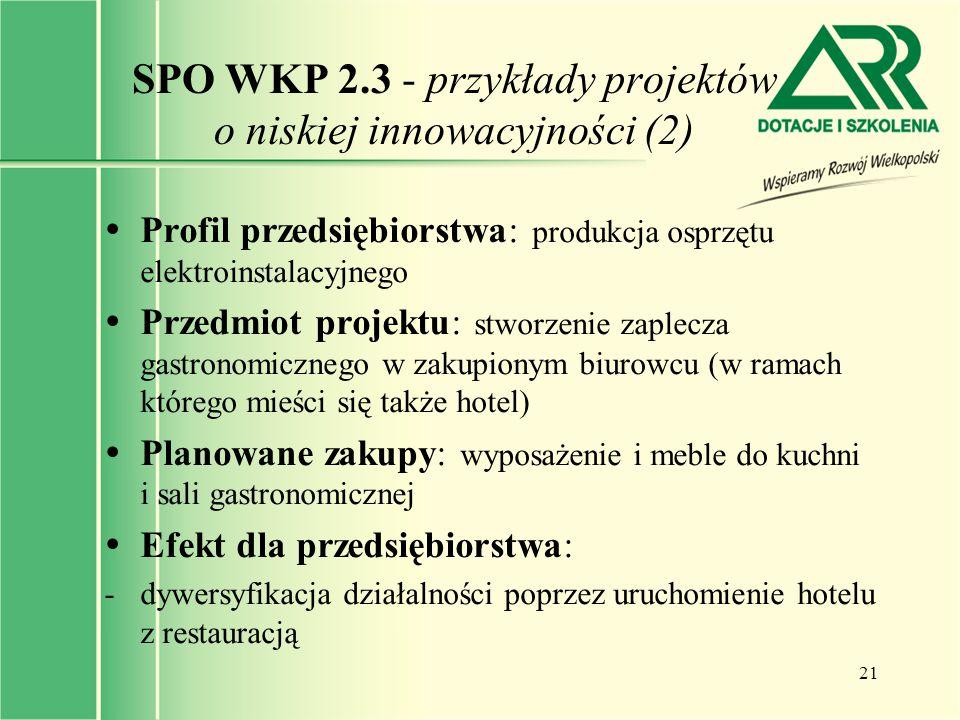 SPO WKP 2.3 - przykłady projektów o niskiej innowacyjności (2)