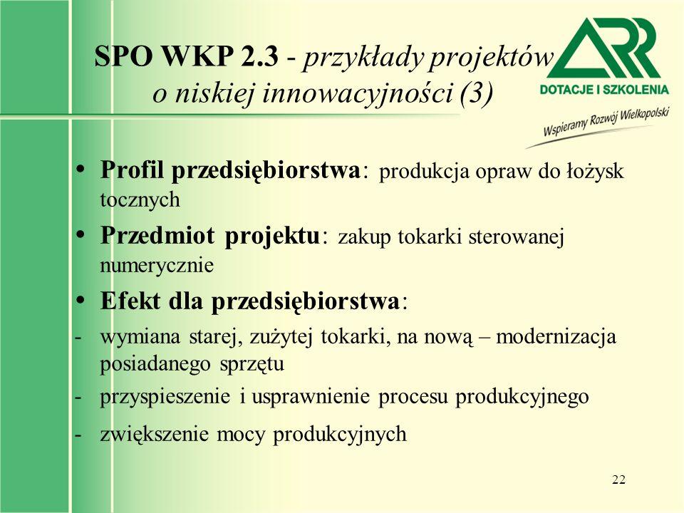 SPO WKP 2.3 - przykłady projektów o niskiej innowacyjności (3)
