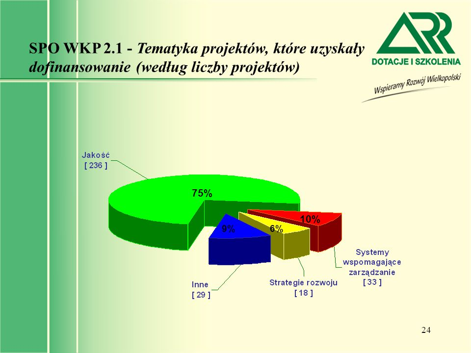 SPO WKP 2.1 - Tematyka projektów, które uzyskały dofinansowanie (według liczby projektów)