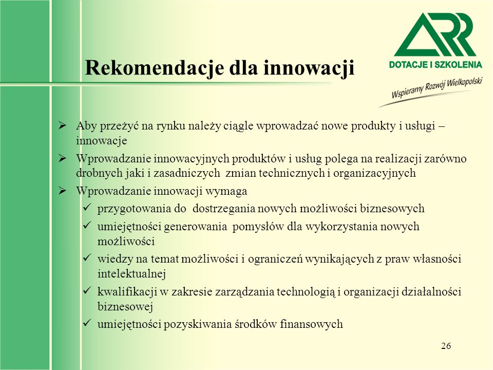 Rekomendacje dla innowacji