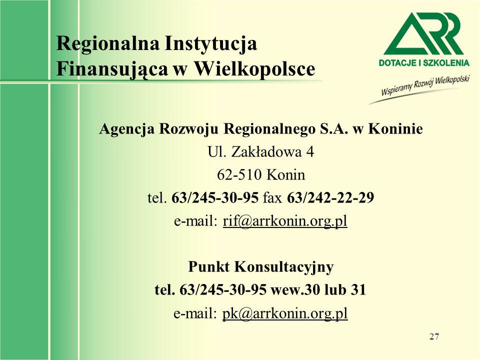 Regionalna Instytucja Finansująca w Wielkopolsce