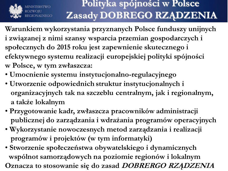 Polityka spójności w Polsce Zasady DOBREGO RZĄDZENIA