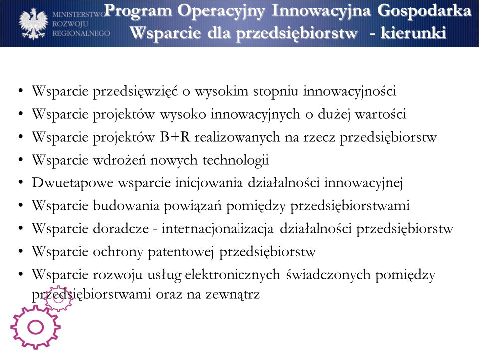 Program Operacyjny Innowacyjna Gospodarka Wsparcie dla przedsiębiorstw - kierunki
