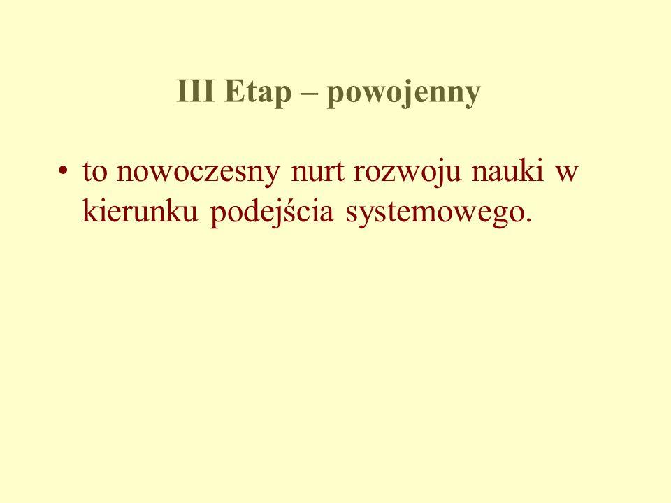 III Etap – powojenny to nowoczesny nurt rozwoju nauki w kierunku podejścia systemowego.