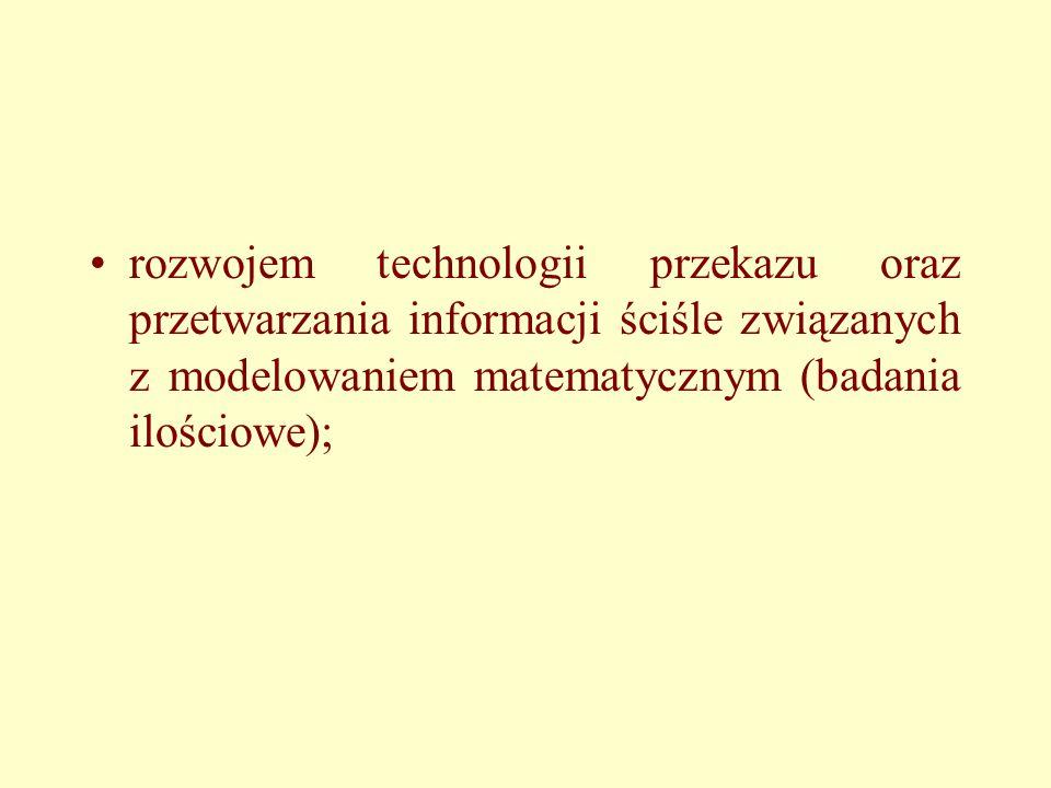 rozwojem technologii przekazu oraz przetwarzania informacji ściśle związanych z modelowaniem matematycznym (badania ilościowe);