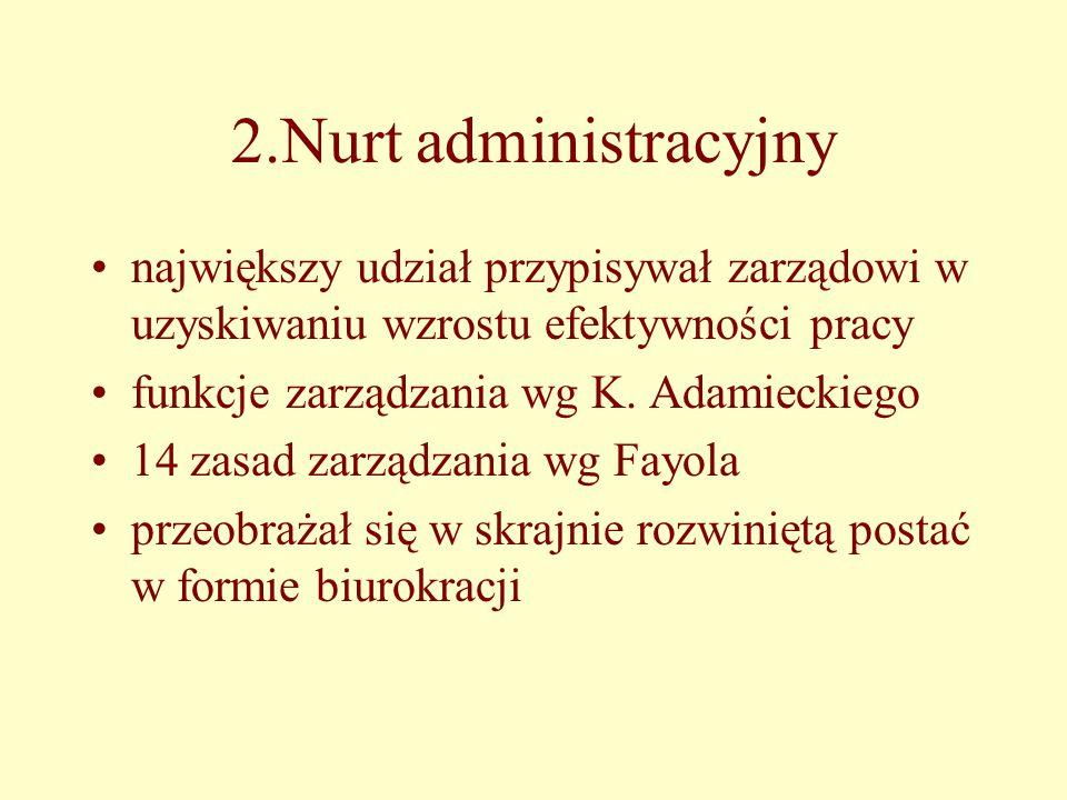 2.Nurt administracyjny największy udział przypisywał zarządowi w uzyskiwaniu wzrostu efektywności pracy.