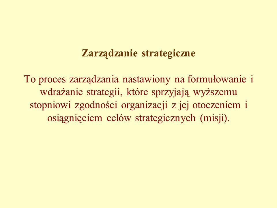 Zarządzanie strategiczne To proces zarządzania nastawiony na formułowanie i wdrażanie strategii, które sprzyjają wyższemu stopniowi zgodności organizacji z jej otoczeniem i osiągnięciem celów strategicznych (misji).