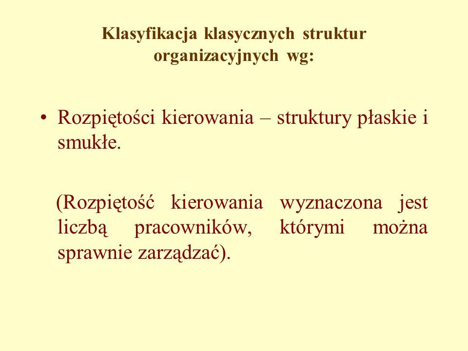 Klasyfikacja klasycznych struktur organizacyjnych wg: