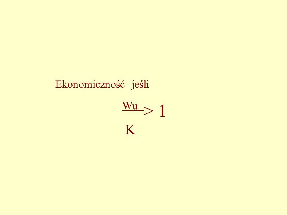 Ekonomiczność jeśli Wu > 1 K