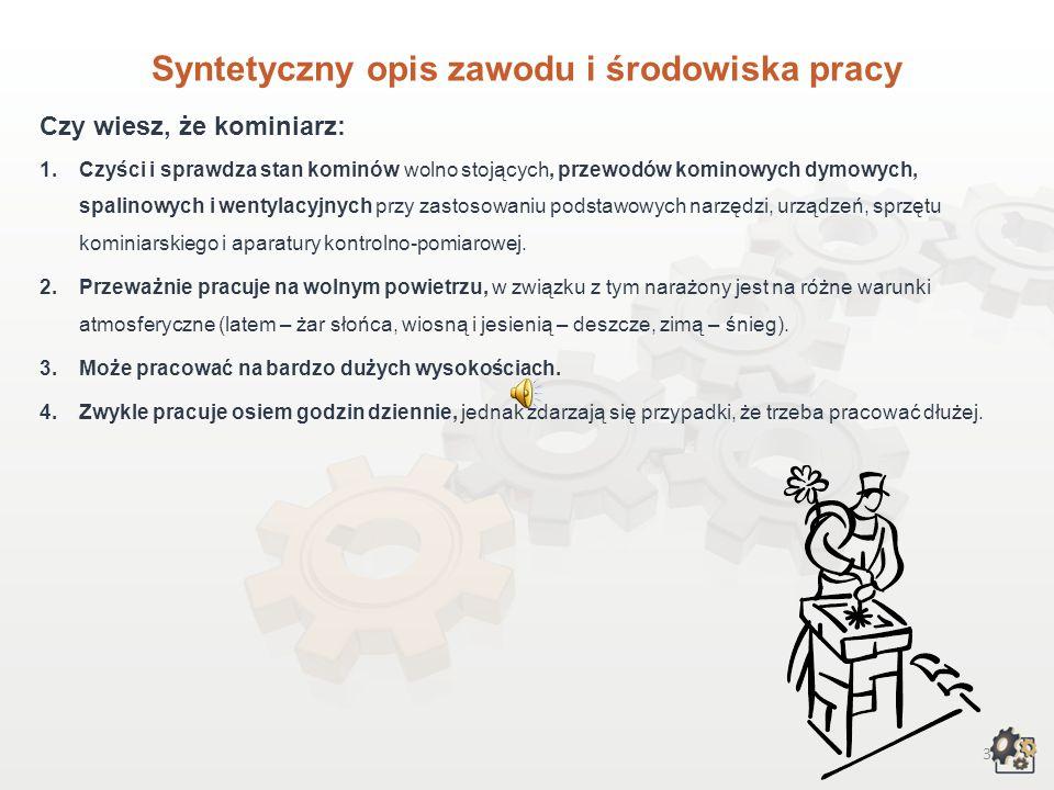 Syntetyczny opis zawodu i środowiska pracy