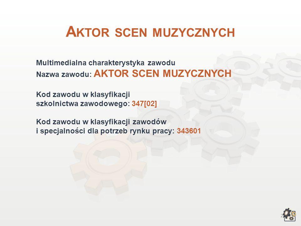 Aktor scen muzycznych Multimedialna charakterystyka zawodu