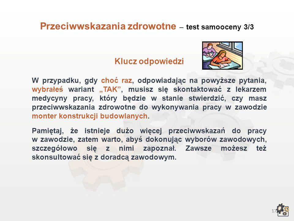 Przeciwwskazania zdrowotne – test samooceny 3/3