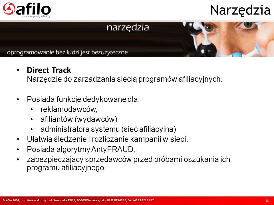 Narzędzia Direct Track Narzędzie do zarządzania siecią programów afiliacyjnych. Posiada funkcje dedykowane dla: