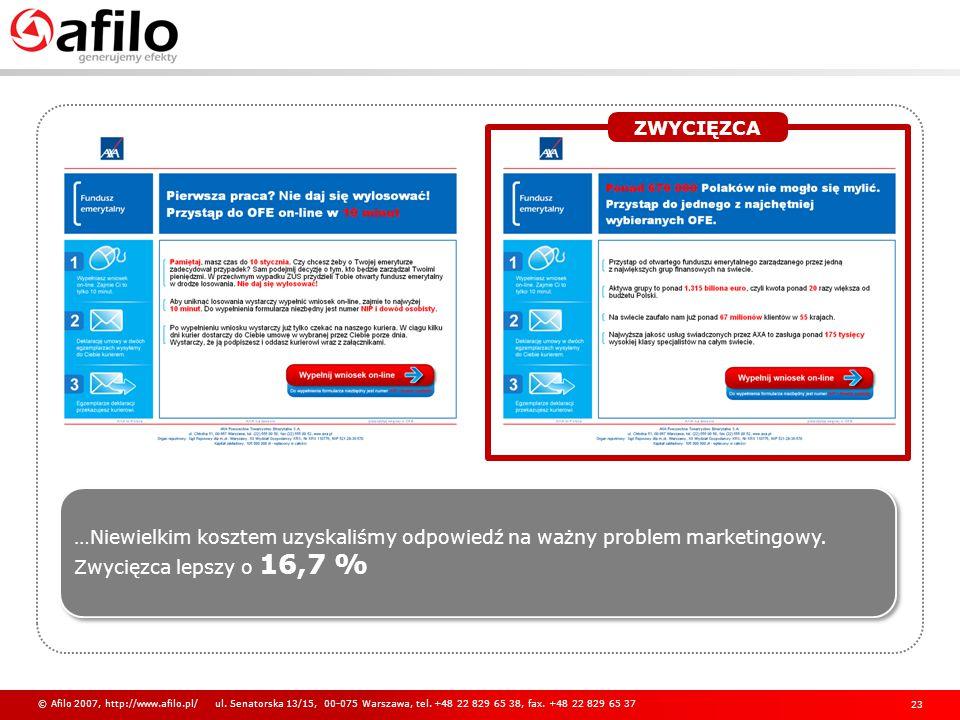 ZWYCIĘZCA …Niewielkim kosztem uzyskaliśmy odpowiedź na ważny problem marketingowy. Zwycięzca lepszy o 16,7 %