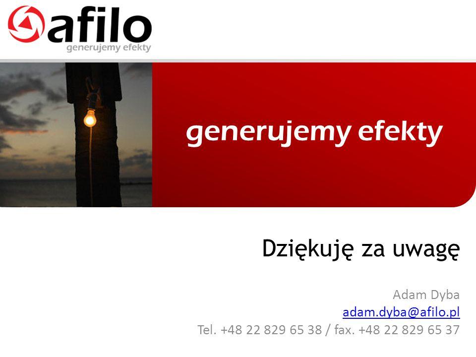 Dziękuję za uwagę Adam Dyba adam.dyba@afilo.pl