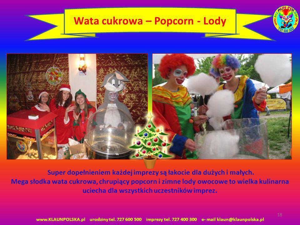 Wata cukrowa – Popcorn - Lody