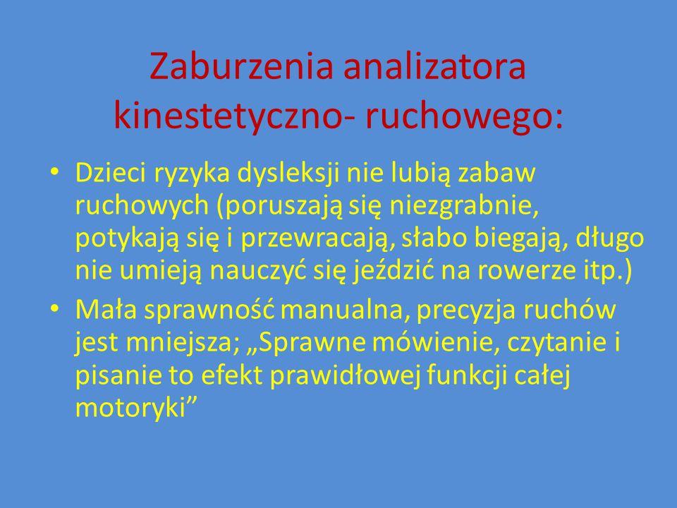 Zaburzenia analizatora kinestetyczno- ruchowego: