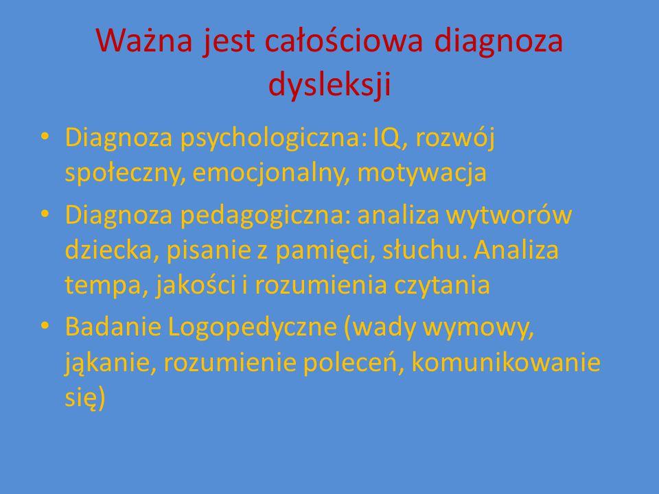 Ważna jest całościowa diagnoza dysleksji